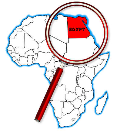 inset: Egypt outline inset into a map of Africa over a white background