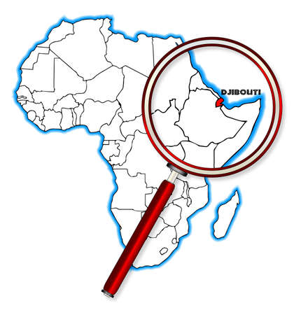 africa outline: Djibouti outline inset into a map of Africa over a white background Illustration