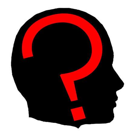 questioning: Ein schwarzer Mann isoliert Kopf mit einem roten Fragezeichen Illustration