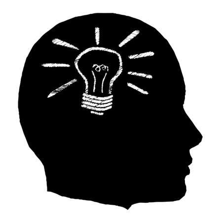 A black isolated man head with a lightbulb Illustration