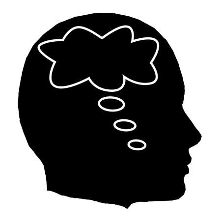 eureka: A black isolated man head with a thought bubble