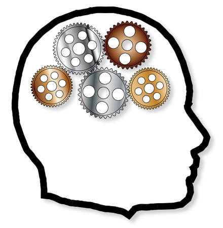 depicted: A brain depicted as a series of gears and cogs