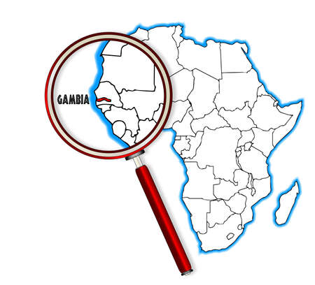 inset: Gambia outline inset into a map of Africa over a white background