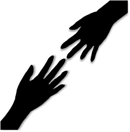 out: Two hands in silhouettereaching towards each other as heloing hands