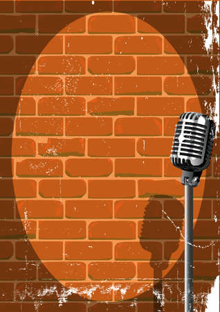 A microphone ready on stage against a brick wall with grunge Stock Illustratie
