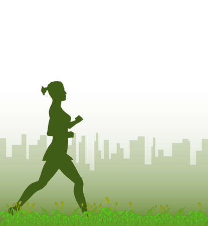 jogger: A grass footer overlooked by a misty morning cityscape with a jogger