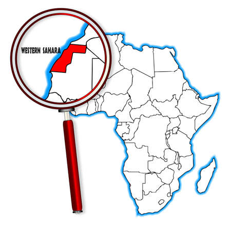 inset: Western Sahara outline inset into a map of Africa over a white background
