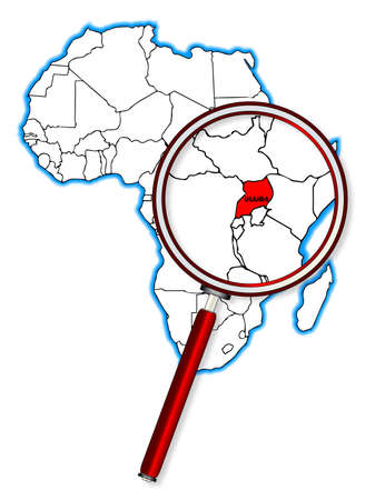 inset: Uganda outline inset into a map of Africa over a white background Illustration