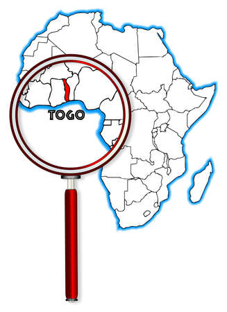 togo: Togo outline inset into a map of Africa over a white background