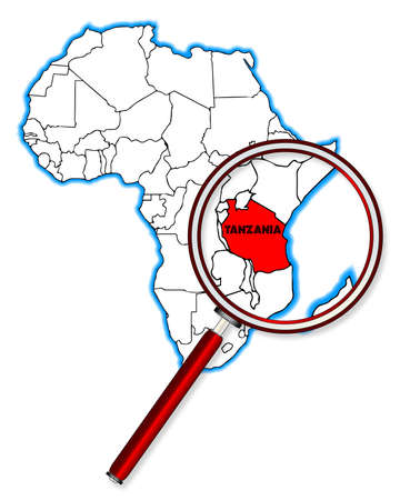 inset: Tanzania outline inset into a map of Africa over a white background
