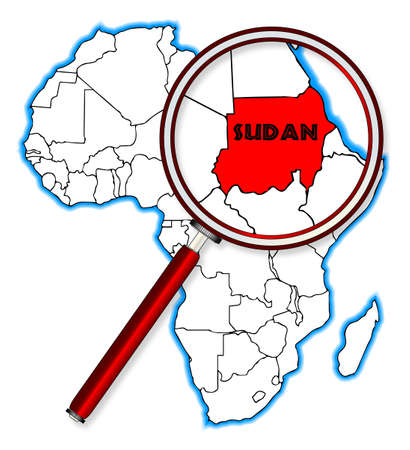 inset: Sudan outline inset into a map of Africa over a white background Illustration