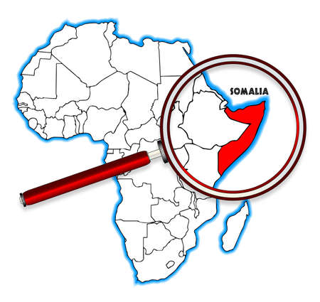 Somalia outline inset into a map of Africa over a white background