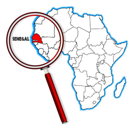 inset: Senegal outline inset into a map of Africa over a white background Illustration