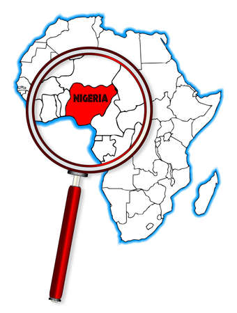 africa outline: Nigeria outline inset into a map of Africa over a white background