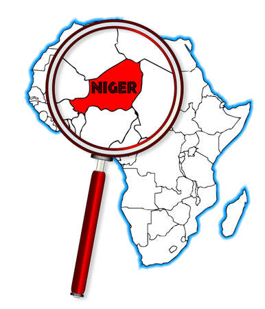 inset: Niger outline inset into a map of Africa over a white background