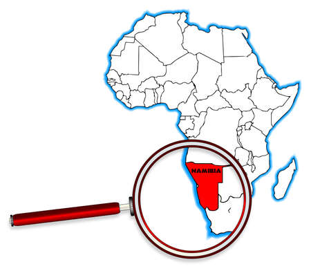 inset: Namibia outline inset into a map of Africa over a white background Illustration