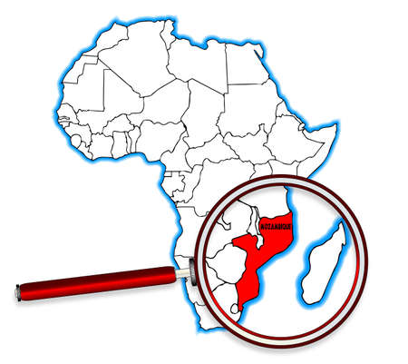 inset: Mozambique outline inset into a map of Africa over a white background
