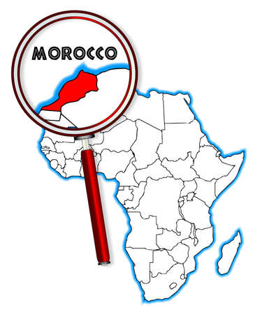 inset: Morocco outline inset into a map of Africa over a white background Illustration