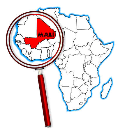inset: Mali outline inset into a map of Africa over a white background Illustration