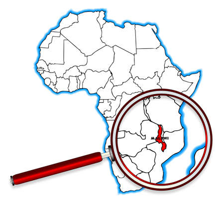 africa outline: Malawi outline inset into a map of Africa over a white background Illustration