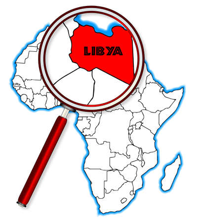 inset: Libya outline inset into a map of Africa over a white background Illustration