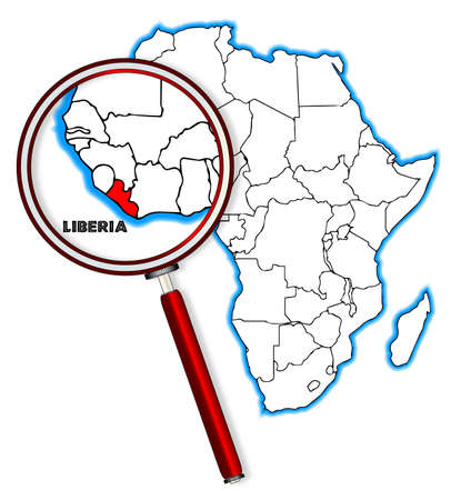 inset: Liberia outline inset into a map of Africa over a white background