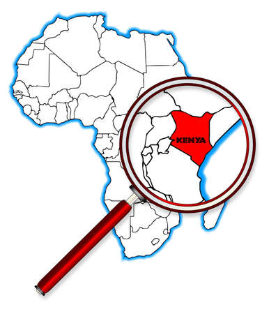 Kenya outline inset into a map of Africa over a white background Vetores