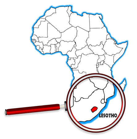 africa outline: Lesotho outline inset into a map of Africa over a white background