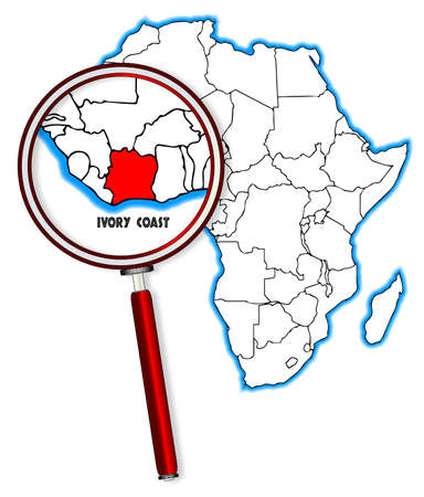 inset: Ivory Coast outline inset into a map of Africa over a white background