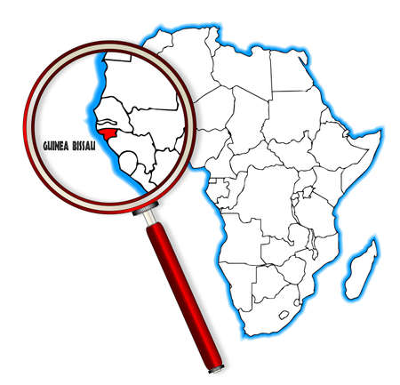 inset: Guinea Bissau outline inset into a map of Africa over a white background