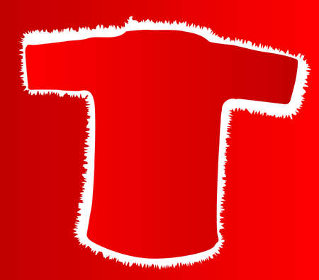 t background: A red T shirt with white border over a red background