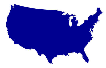 An outline silhouette map of The United States of America over a white background Ilustracja