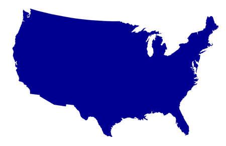 Un mapa de contorno de la silueta de los Estados Unidos de América sobre un fondo blanco