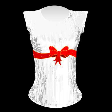t shirt design: A bright red Christmas gift ribbon a T shirt design Illustration