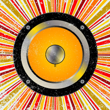 reds: Abstract and retro grunge backround design element in reds and oranges aith a musical speaker set in Illustration
