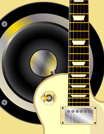 gibson: The definitive rock and roll guitar in yellow over a yellow background with a typical rock amplifier speaker inset