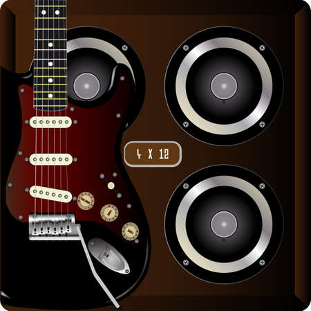 strat: 4 X 12 guitar amplifier cabinet with an electric guitar in the foreground Illustration