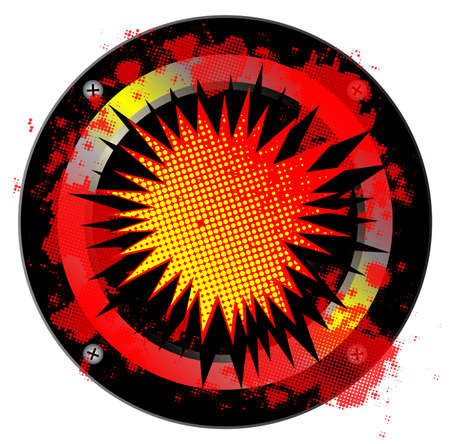 bombing: Un ruido altavoz ruidoso estilo c�mico sobre un fondo blanco