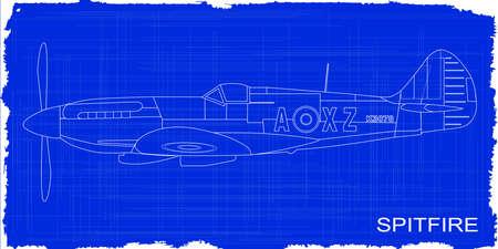 fighter plane: A Supermarine World War II Spitfire Mark XIV  fighter plane as a blueprint