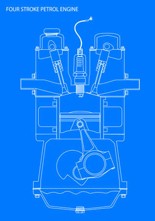 line drawing: A four stroke petrol engine line drawing in white over blue Vettoriali