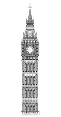london landmark: The London landmark Big Ben Clocktower at miidnight by a full moon.