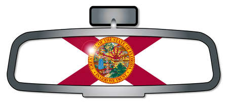 rear view mirror: A vehicle rear view mirror with the flag of the state of Florida Illustration