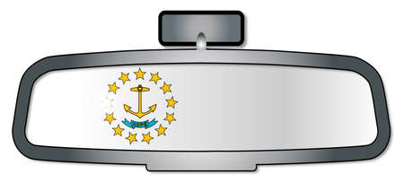 rear view: A vehicle rear view mirror with the flag of the state of Rhode Island Illustration