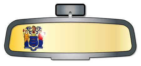 rear view mirror: A vehicle rear view mirror with the flag of the state of New Jersey