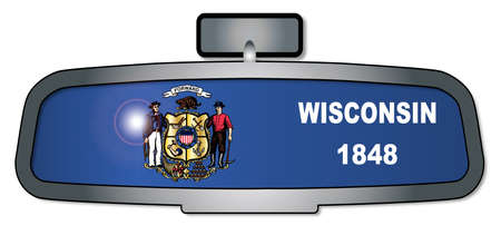 A vehicle rear view mirror with the flag of the state of Wisconsin