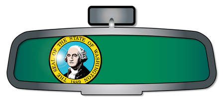 rear view mirror: A vehicle rear view mirror with the flag of the state of Washington