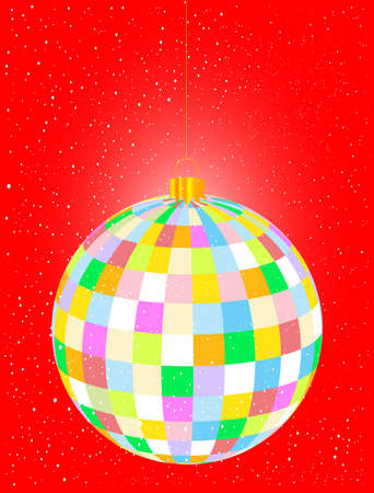 multi coloured: A Christmas multi coloured globe over a red snowing background Illustration