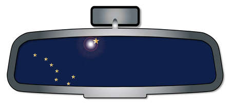 rear view mirror: A vehicle rear view mirror with the flag of the state of Alabama