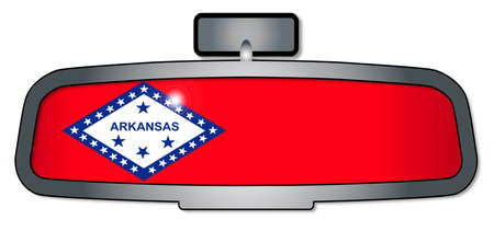 rear view mirror: A vehicle rear view mirror with the flag of the state of Arkansas