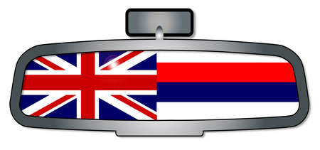 A vehicle rear view mirror with the flag of the state of Hawaii